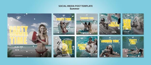 Postagens de mídia social do conceito de verão