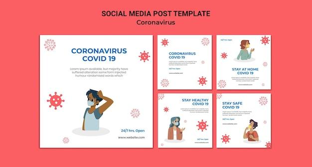 Postagens de mídia social do coronavirus