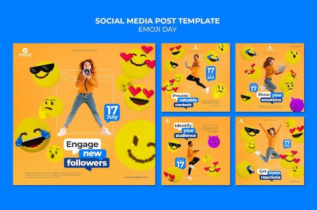 Postagens de mídia social do emoji day