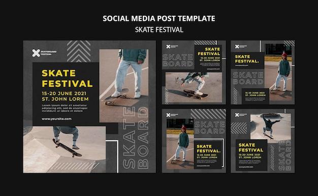 Postagens de mídia social do festival de skate