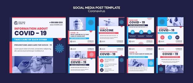 Postagens de mídia social do instagram do coronavirus