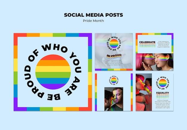 Postagens de mídia social do mês do orgulho