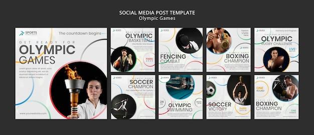 Postagens de mídia social dos jogos olímpicos