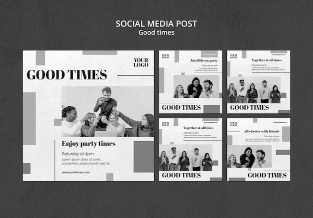 Postagens de mídia social em bons momentos