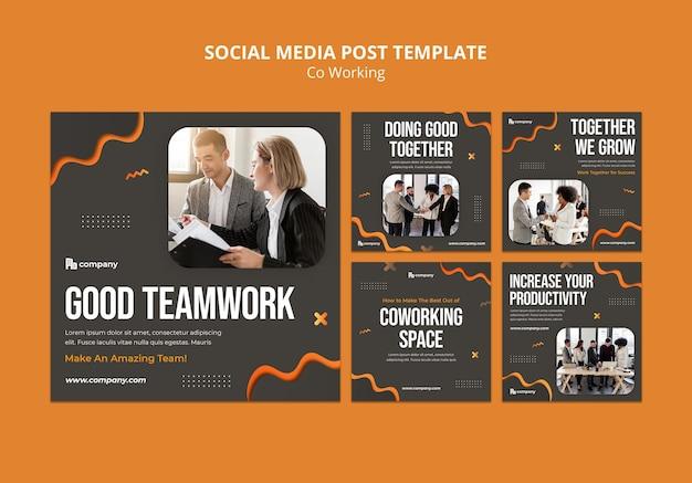 Postagens de mídia social em colaboração criativa