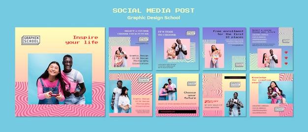 Postagens de mídia social em escolas de design gráfico