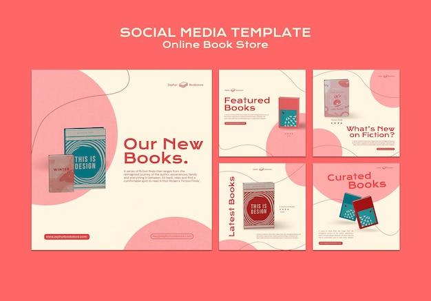 Postagens de mídia social em livrarias online
