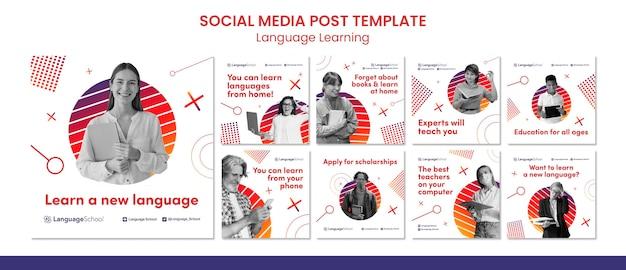 Postagens de mídia social para aprendizagem de línguas