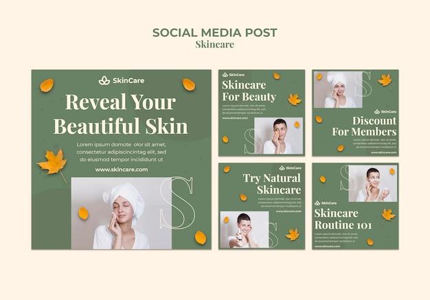 Postagens de mídia social para cuidados com a pele