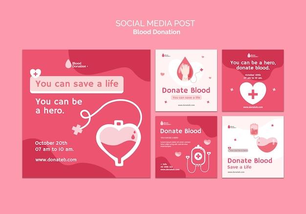 Postagens de mídia social para doação de sangue