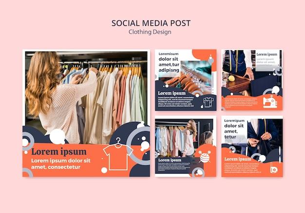 Postagens de mídia social para loja de roupas