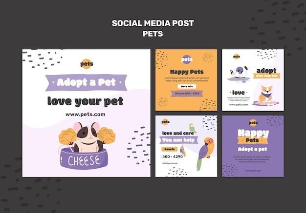 Postagens de mídia social sobre adoção de animais de estimação