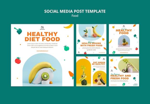 Postagens de mídia social sobre comida saudável
