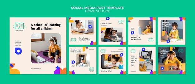 Postagens de mídia social sobre educação em casa