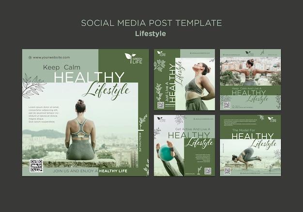Postagens de mídia social sobre estilo de vida saudável