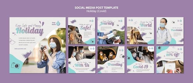 Postagens de mídia social sobre viagens e segurança