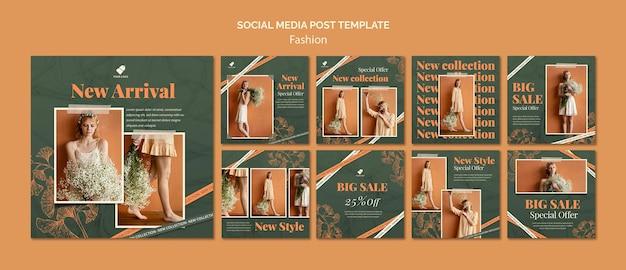 Postagens de modelos de moda em mídias sociais