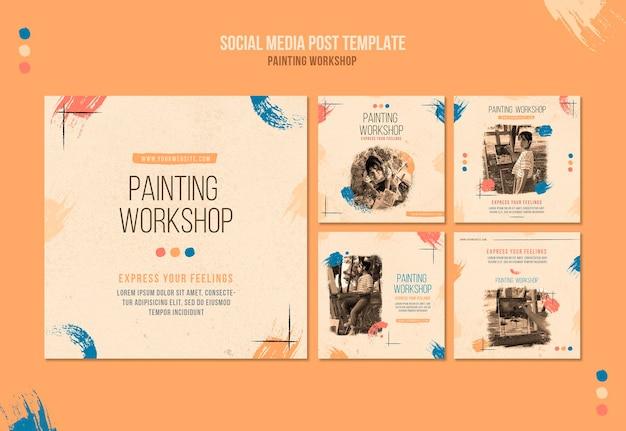 Postagens de oficina de pintura em mídias sociais