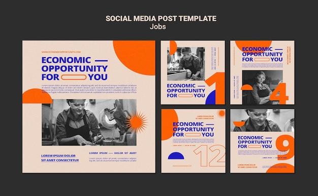 Postagens de oportunidades de emprego nas redes sociais