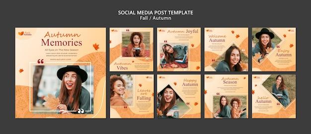 Postagens de outono nas redes sociais
