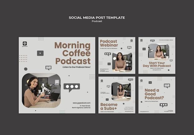 Postagens de podcast nas redes sociais