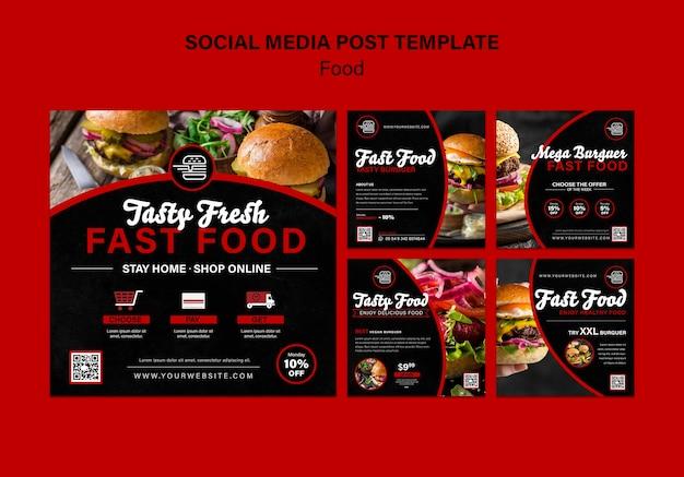 Postagens de redes sociais de fast food