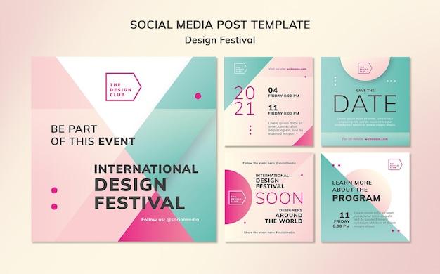 Postagens de redes sociais de festivais de design