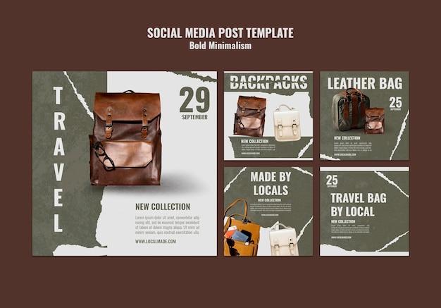 Postagens de redes sociais de malas de viagem