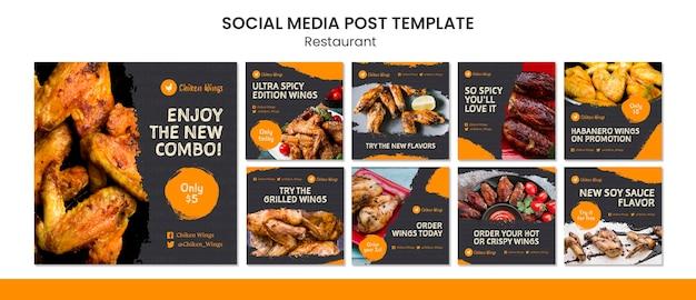Postagens de redes sociais de restaurantes de comida
