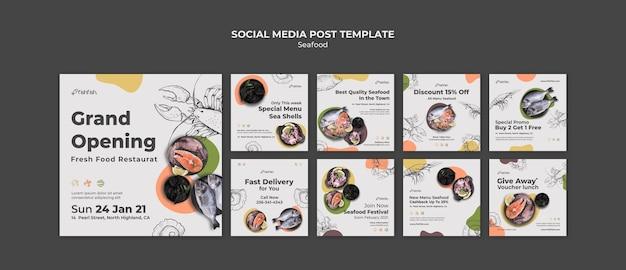 Postagens de redes sociais de restaurantes de frutos do mar