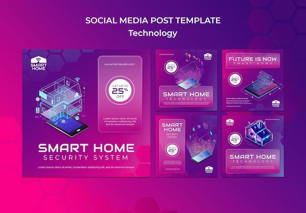 Postagens de redes sociais em casa inteligente