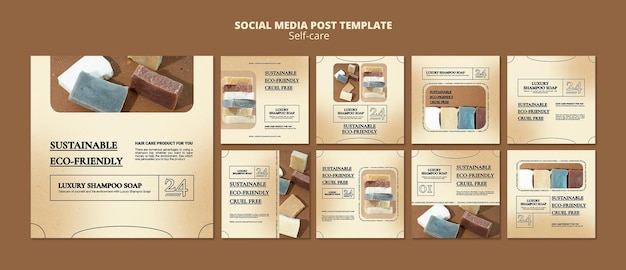 Postagens de sabonete de xampu nas redes sociais