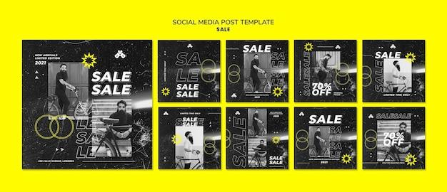 Postagens de vendas de moda na mídia social