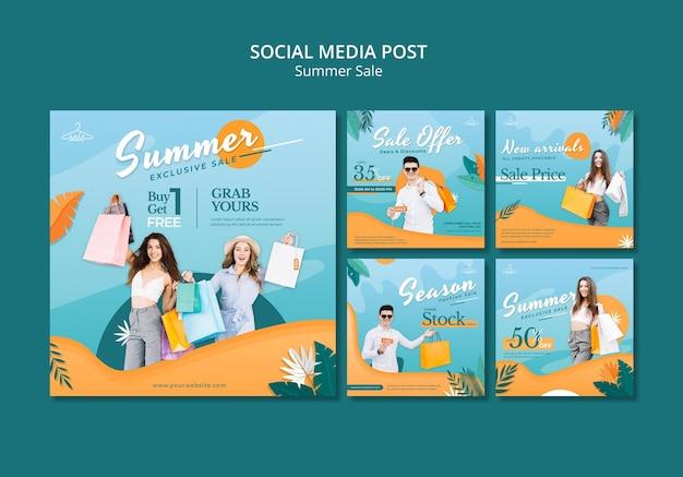 Postagens de vendas de verão na mídia social