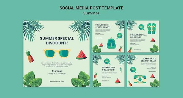 Postagens de verão nas redes sociais