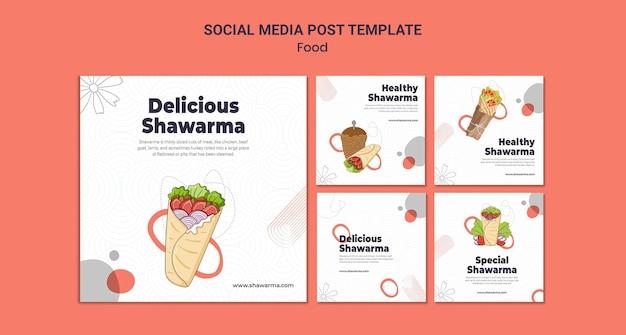 Postagens deliciosas de shawarma nas redes sociais