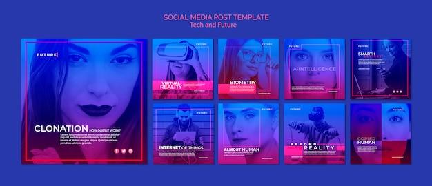Postagens do instagram de conceito tecnológico e futuro