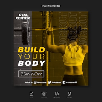 Postagens do instagram de mídia social de ginásio de fitness mulher ou modelo de folheto quadrado
