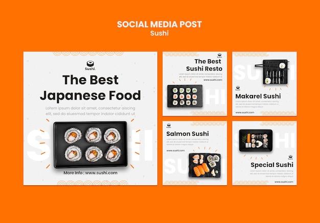 Postagens do instagram de restaurante de sushi definido