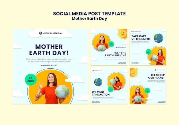 Postagens do instagram do dia da mãe terra