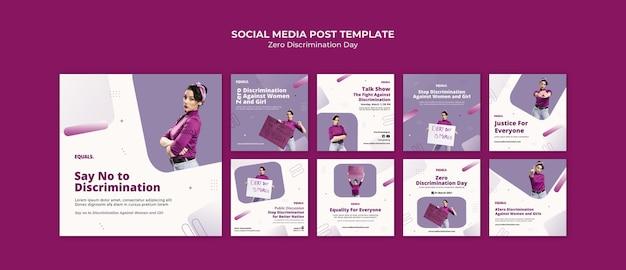 Postagens do instagram do evento do dia de discriminação zero
