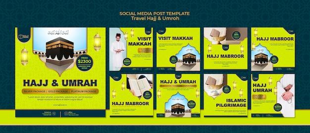 Postagens do instagram sobre viagens hajj e umrah