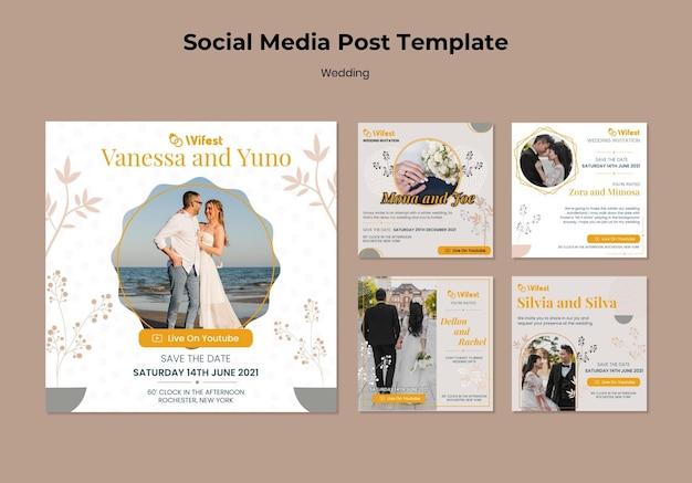 Postagens elegantes de casamento nas redes sociais