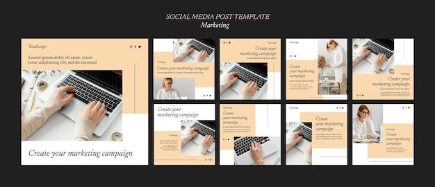 Postagens em mídia social de campanha de marketing