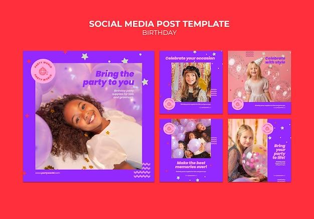 Postagens em mídia social de festa de aniversário