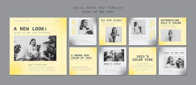 Postagens em mídias sociais com a cor do ano