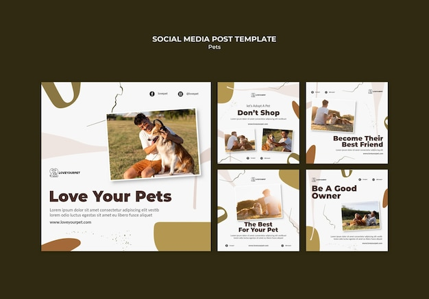 Postagens em mídias sociais de animais de estimação e proprietários