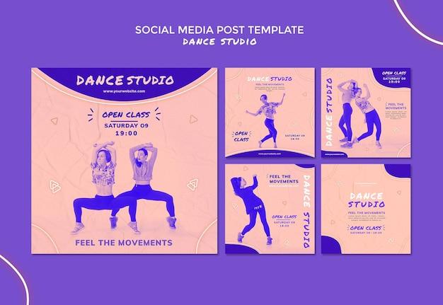 Postagens em mídias sociais de estúdio de dança