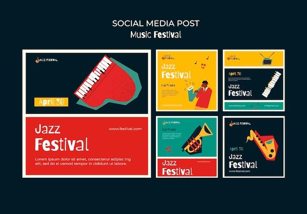 Postagens em mídias sociais de festivais de música