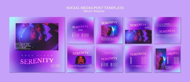Postagens em mídias sociais de lançamento de álbum